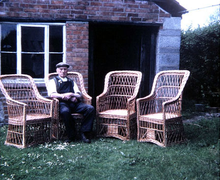 Mr William Palmer, outside his workshop Stoke St Gregory 1968.