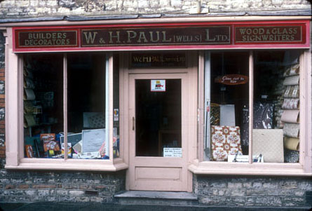 Paul's Builders & Decorators, Cuthbert St, Wells, c.1970s.
